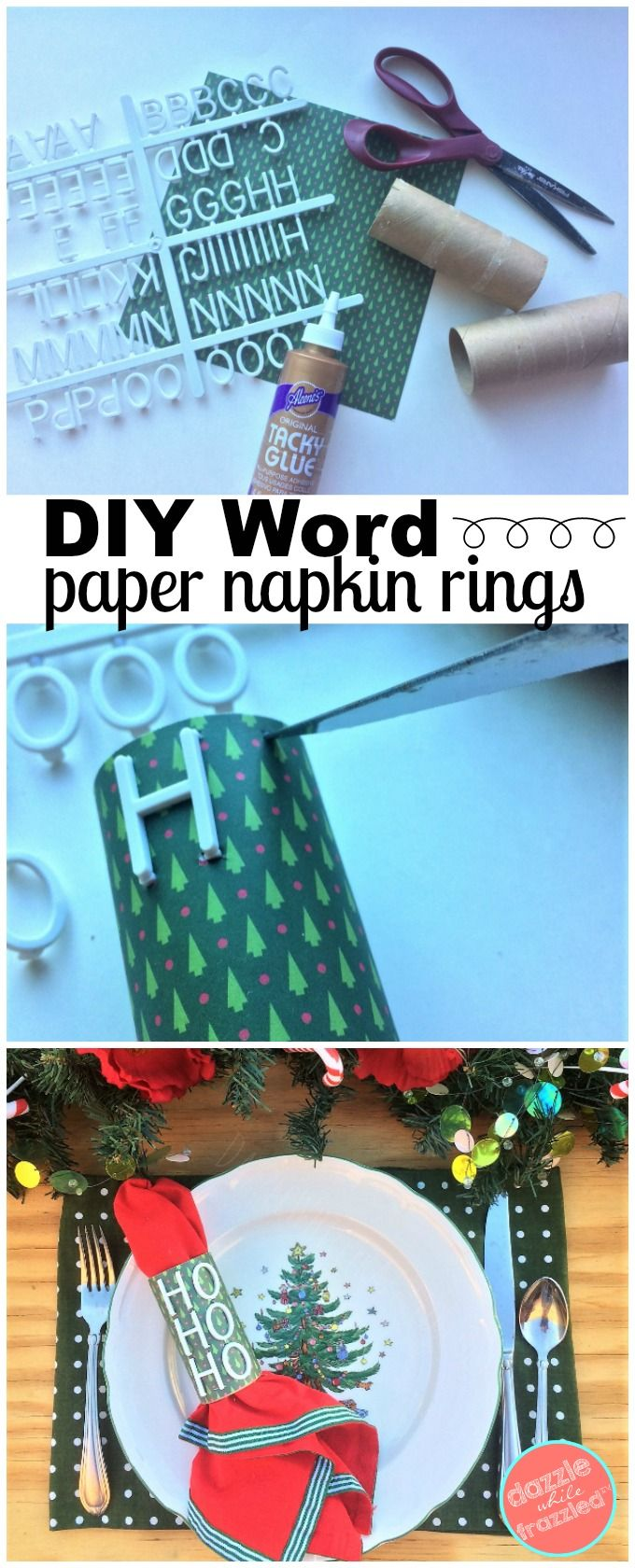 How to make DIY letterboard word napkin rings using letterboard letters, scrapbook paper and toilet paper tubes. Fun message board paper napkin rings. via @https://www.pinterest.com/dazzlefrazzled/ #diytabledecor #messageboard #napkinrings