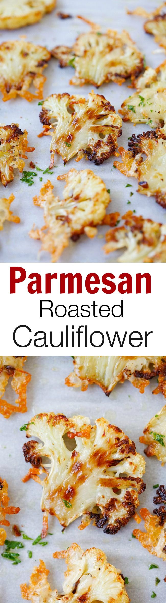 Parmesan Roasted Cauliflower – delicious cauliflower roasted with butter, olive oil and Parmesan