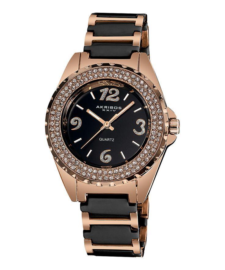 Black & Rose Gold Crystal Ceramic Watch