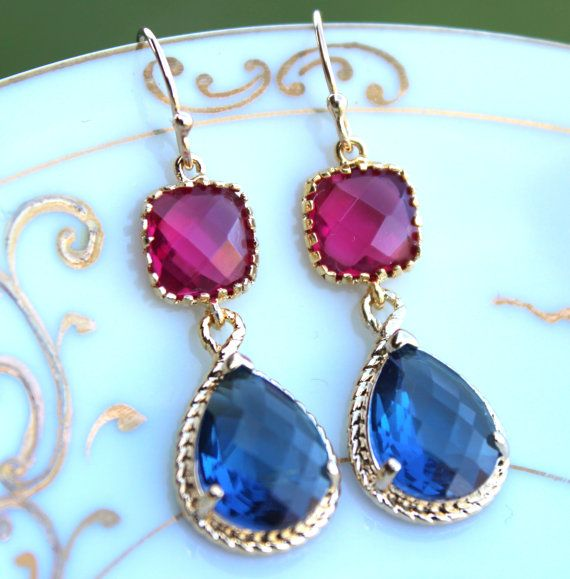 Zaffiro blu Navy fucsia rosa oro due Tier da damigella rosa orecchini orecchini nozze gioielli orecchini fucsia damigella d