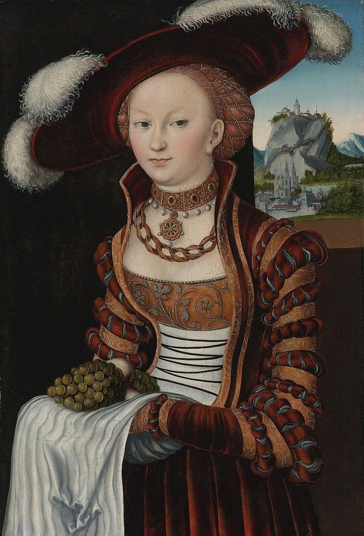 Portrait of a Young Woman Holding Grapes and Apples, 1528, by Lucas Cranach, the Elder - Lucas Cranach l'Ancien — Wikipédia