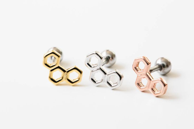 3 hexagons piercing--Barbell Piercing- Alllick now make you queen. Bringing you the latest in Jewelry trends and releasing new products faster in time for the season's trend!
