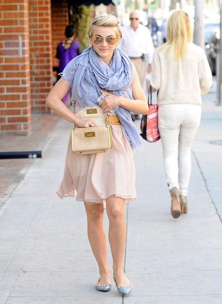 Julianne Hough wearing Chloe Sally Python bag in cream Valentino ...