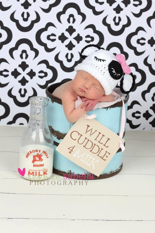 Sleepy Cow Cuddle hat Newborn Photography Prop