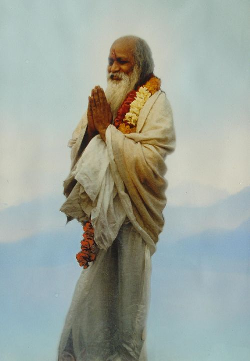 Maharishi on mountain top, Switzerland