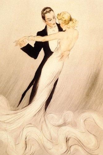 COUPLE WALTZ DANCE BALLROOM DANCING SHOW THEATRE BY LOUIS ICART