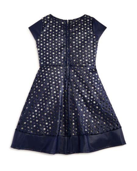 US Angels Girls' Circle Cutout Overlay Dress - Sizes 2-6X