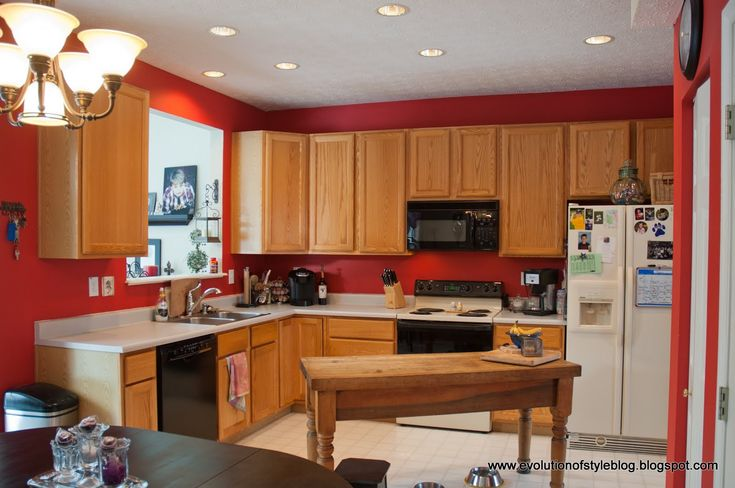 Red kitchen wall color ideas with white ceiling and soft for Dark orange kitchen
