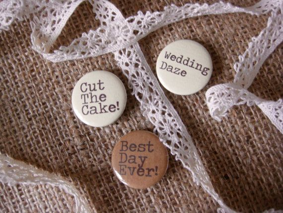 Wedding Badges Favours Quotes Mixed Cream and Brown by BohoBadges