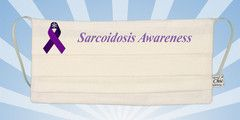 """This white Mouth Shutters mask is a custom printed mask for """"Sarcoidosis Awareness"""" with a purple ribbon, made by Chic Stitch.  All our mask are made from two layers of cotton fabric with adjustable elastic earloops. They are washable (hand wash and drip-dry only) and reusable. You can buy most of our masks in two sizes - Adult and Child sizes."""