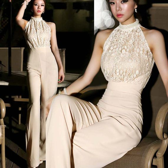 Fashion Star Elegant Jumpsuit / Halter Pearl Lace Patchwork Jumpsuits & Romper on Etsy, $55.00