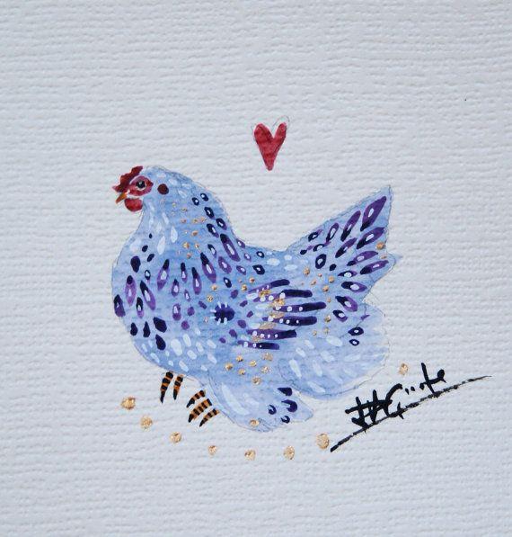 Lavender Pekin Chicken Hemp Card Hand Painted by PaintingPasserine