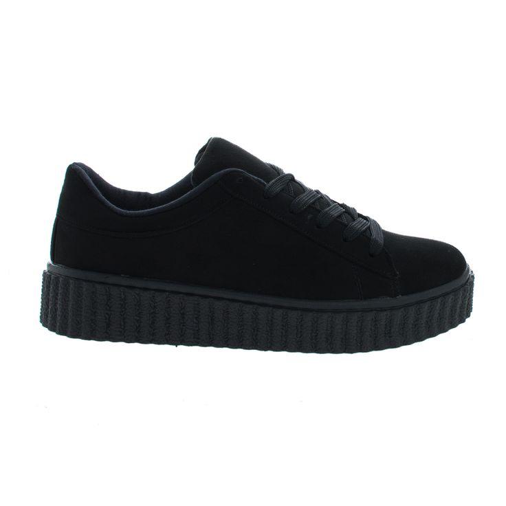 Caleb02 Lace Up Sneaker w Rubber Texture Ridges Thick Platform Sole