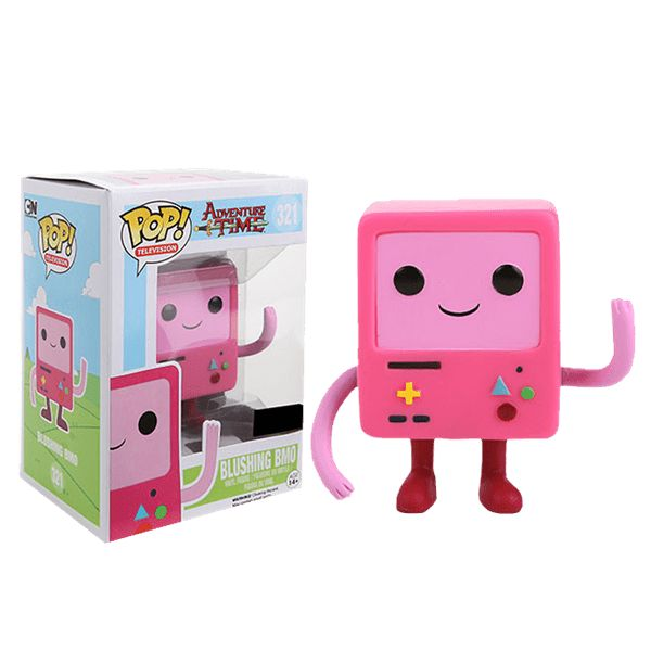 He's BMO! The little hand held gaming device that Jake and Finn hang out with. While he is an adorable little fellow he does do weird stuff when they leave the house. Add Pink Blushing BMO to your Pop Vinyl collection.