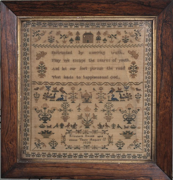 """Lot 320, A Victorian stitch work sampler with motto, animals and trees by Elizabeth Bassell Aged 11 years, dated 18th August 1838 contained in a rosewood frame 13"""" x 12"""", sold for £145"""