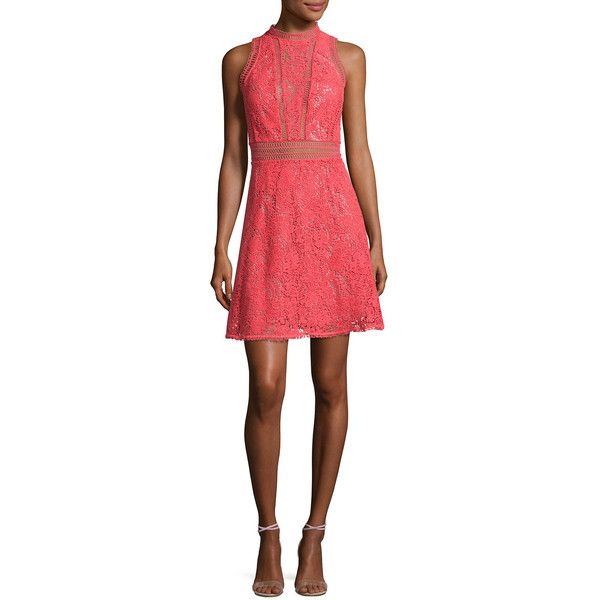 Rebecca Taylor Arella Sleeveless Lace Dress (€235) ❤ liked on Polyvore featuring dresses, coral, floral print dress, red dress, floral a line dress, red lace dresses and floral dresses