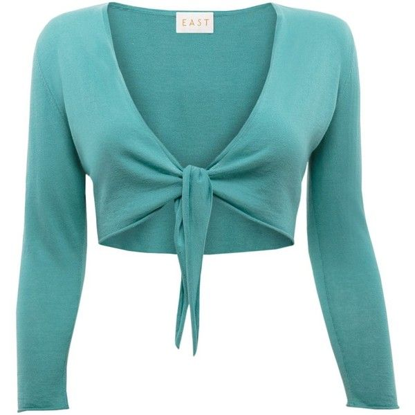 East Cotton gauze tie front shrug (81 BRL) ❤ liked on Polyvore featuring green, women, tie front shrug, blue shrug, cardigan shrug, shrug cardigan and summer shrugs