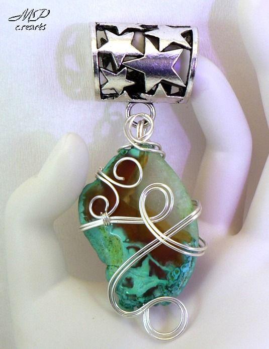 Bijou d'écharpe ou de foulard, bélière argentée wire wrapping agate cristal : Echarpe, foulard, cravate par mp-crearts