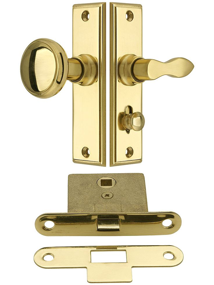 "New York Screen Door Latch Set With 1 1/2"" Backset"