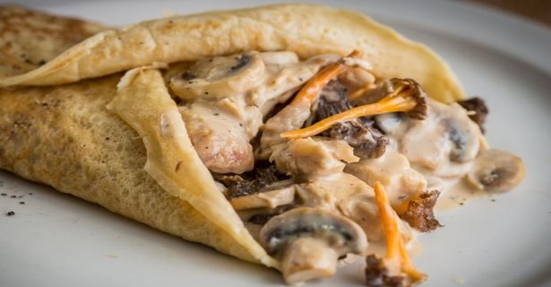 These delicious #vegan #pancakes, accompanied by a #mushrooms sauce will be adish of successful even for the most demanding palates.  Pancakes with mushrooms sauce