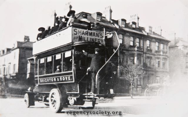 Brighton's first Motor Bus, CD 103, is seen travelling west along Church Road, at the junction with the Drive in May 1903. The public service of Motor buses commenced on December 14th, 1902. The route was from Castle Square to Sackville Road (Hove Street) the fare for that long journey being 2d.