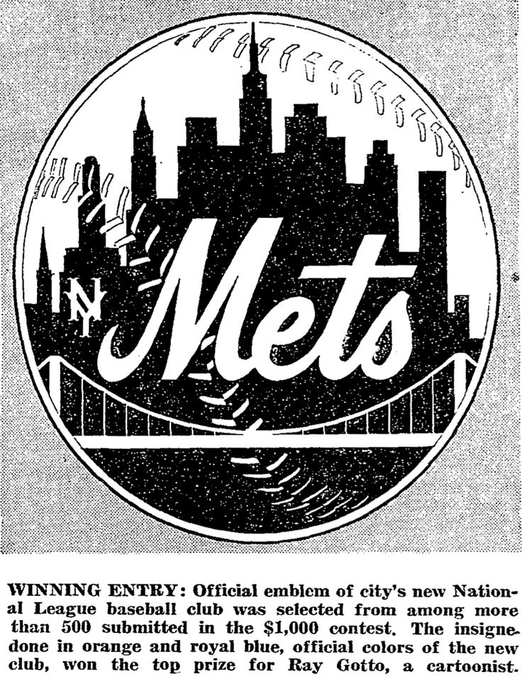 NOVEMBER 16,1961 - The circular Mets logo, designed by sports cartoonist Ray Gatto is unveiled. The design, which represents all five boroughs with various symbols, is blue and orange, the team colors of the Dodgers and Giants, the franchises which left the 'Big Apple' and moved to the West Coast leaving New York without a National League representative.