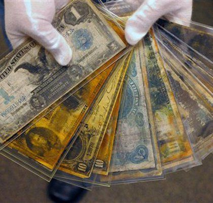 Old money recovered from the Titanic