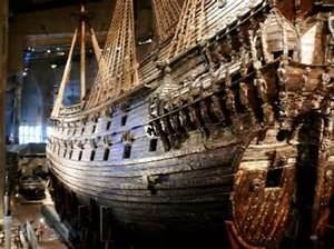 Vasa.  The remains of the Vasa ship is displayed in a maritime museum in Stockholm, Sweden. The museum displays the only almost fully intact 17th century ship that has ever been salvaged.  The 64-gun warship Vasa sank on her maiden voyage in the Stockholm Harbor in 1628 with loss of many lives.