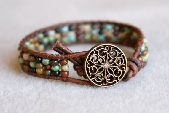 Rustic Picasso Bohemian beach beaded leather wrap bracelet, single Wrap, Turquoise, brown, boho chic, surfer stack bracelet, trendy jewelry