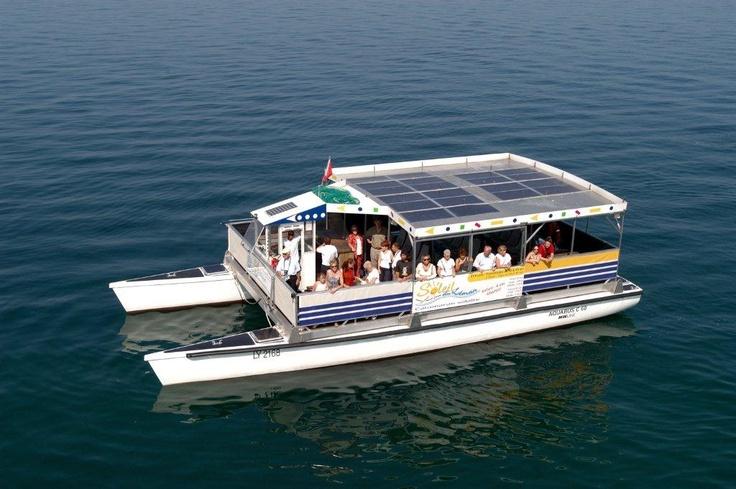 A Grove Boats solar powered catamaran. She can accommodate ...