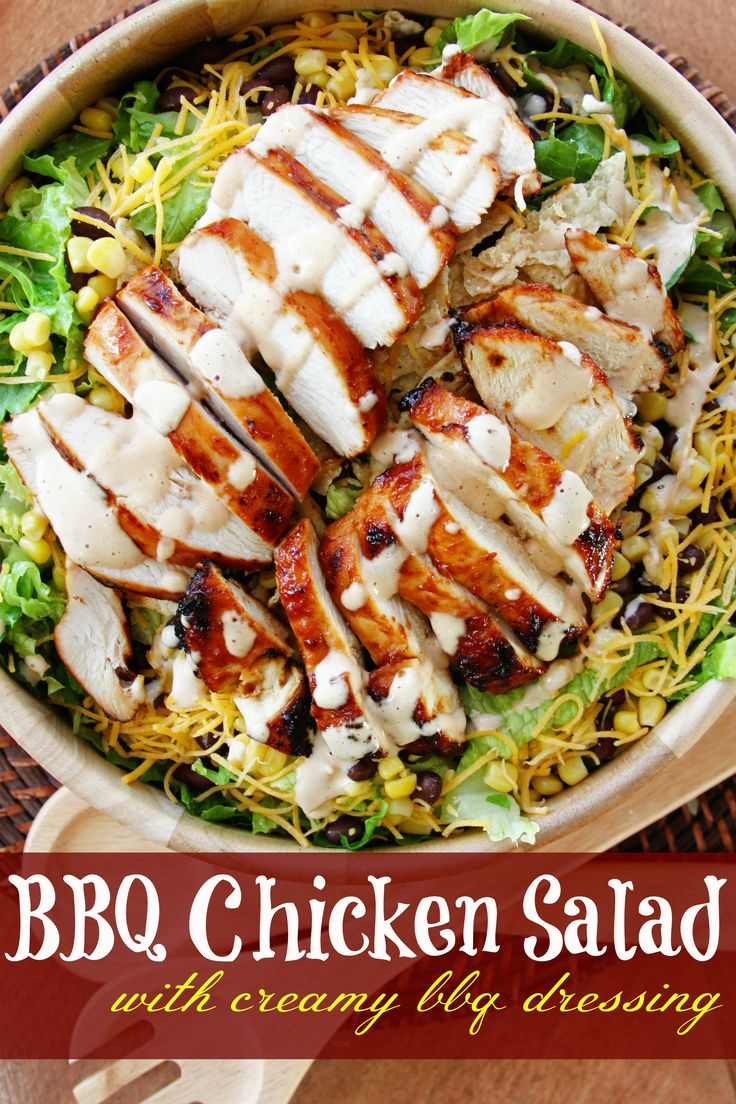 BBQ Chicken Salad with Creamy BBQ Dressing.. I'm adding this to my  list of recipes to try to lighten up for my Shrinking On A Budget Meal Plan.  Love the concept.  I think perhaps a yogurt based dressing might do the trick.