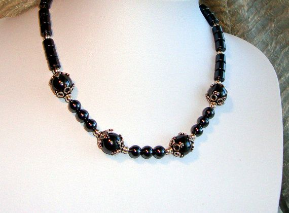Hematite short silver necklace by AriadniCreations on Etsy 50€