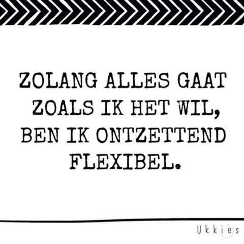 zolang alles gaat zoals ik het wil ben ik ontzettend flexibel