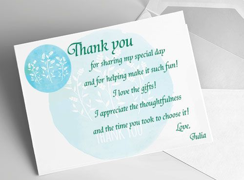 How To Write Wedding Gift Message : Bridal Shower Thank You Card Ideas Thank you cards, Flower prints ...