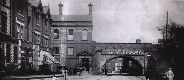 1910 Levenshulme Station. Albert Road (Photo: Looking Back At Levenshulme & Burnage.1987 Willow Publishing)