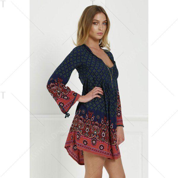 Stylish V-Neck 3/4 Sleeve Floral Print Women's Tunic Dress