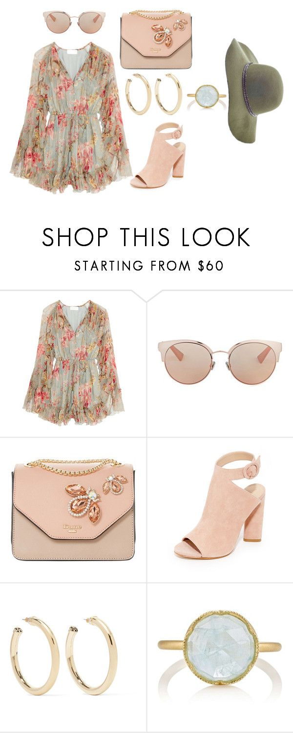"""""""pinkie"""" by barbara-lancianese ❤ liked on Polyvore featuring Zimmermann, Christian Dior, Dune, Kendall + Kylie, Kenneth Jay Lane, Irene Neuwirth and Scala"""