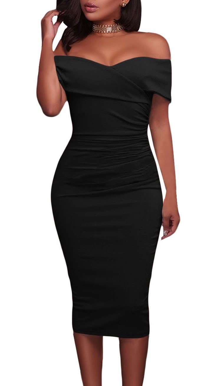 Foldover Wrap Style Dress Offeres Trendy Off Shoulder Design Body Hugging Fit With Midi Length Classy And Fashiona Classy Dress Fashion Black Cocktail Dress [ 1312 x 675 Pixel ]