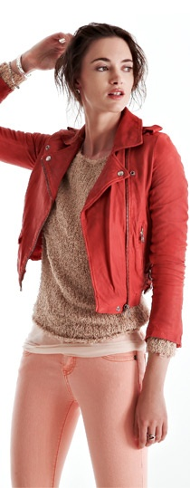 love color combo: Colour, Fashion, Red Leather Jackets, Color Combos, Style, Colors, Pink Leather Jackets