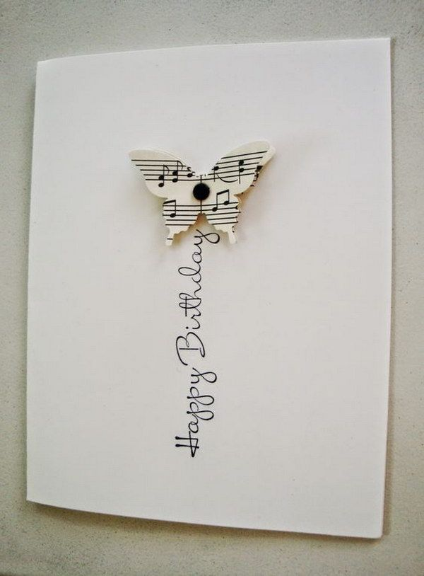 Birthday Card With Sheet Music Butterfly.