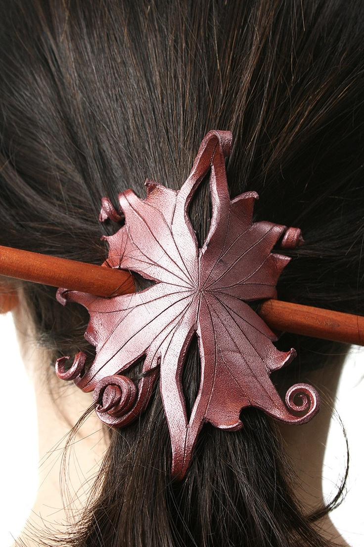 Elegant Floral, Leather, Filigree, Flower, Spirals, Hair Slide, Barrette, Hair Stick, Fairy, Elven, Shimmering Mauve, OOAK. $37.00, via Etsy.