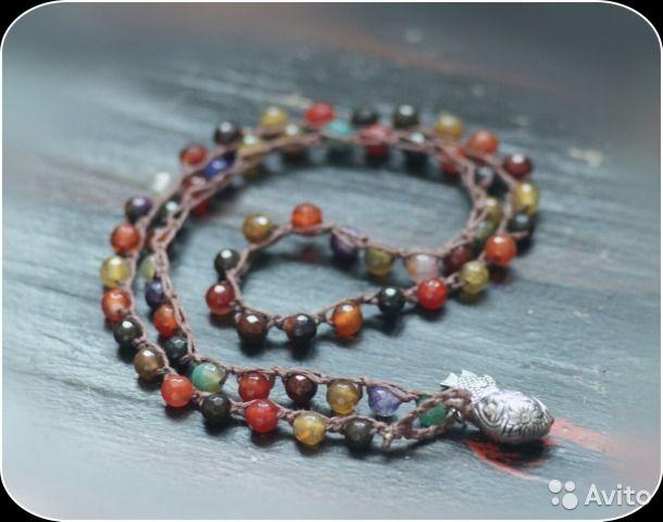 Вязаное ожерелье и браслет из натуральный камней