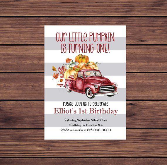 fall birthday invitation pumpkin birthday invitation boy red truck