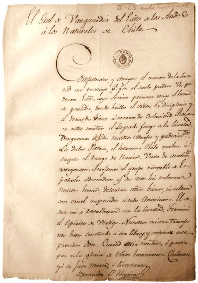 """Proclama de Bernardo O'Higgins al pueblo sobre la lucha por la libertad chilena. 1817.  """"El General de Vanguardia del Ejército de los Andes a los Naturales de Chile"""