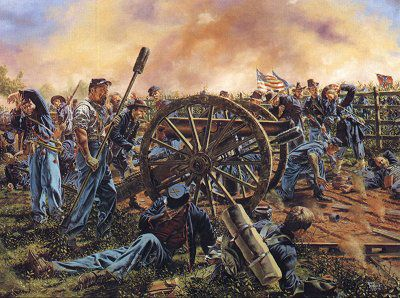 Battery B, 4th US Artillery fights along side the Iron ... |American Civil War Battle Paintings