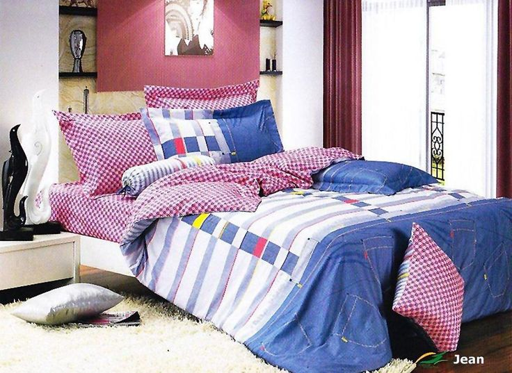 get the same laidback relaxation that you get wearing your favorite blue jeans with le veleu0027s cotton blue jean patch 4 pc duvet bedding set featuring