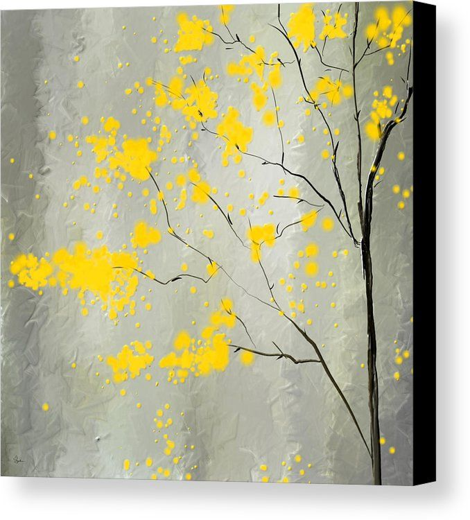 Yellow And Gray Canvas Print featuring the painting Yellow Foliage Impressionist by Lourry Legarde