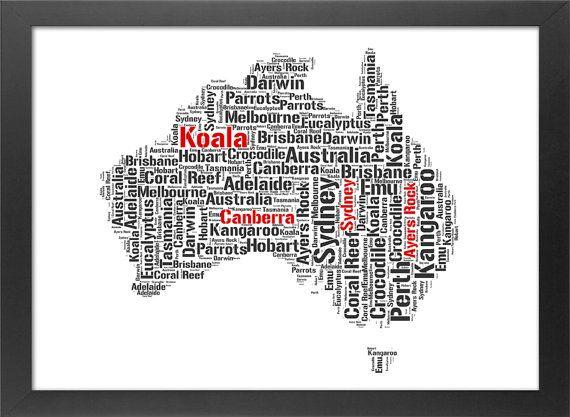 Custom Print Australia Typography Map Places by ULTRASONICBOOM
