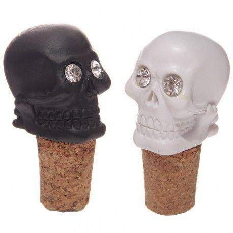 Bouchon de bouteille - Crânes blanc et noir