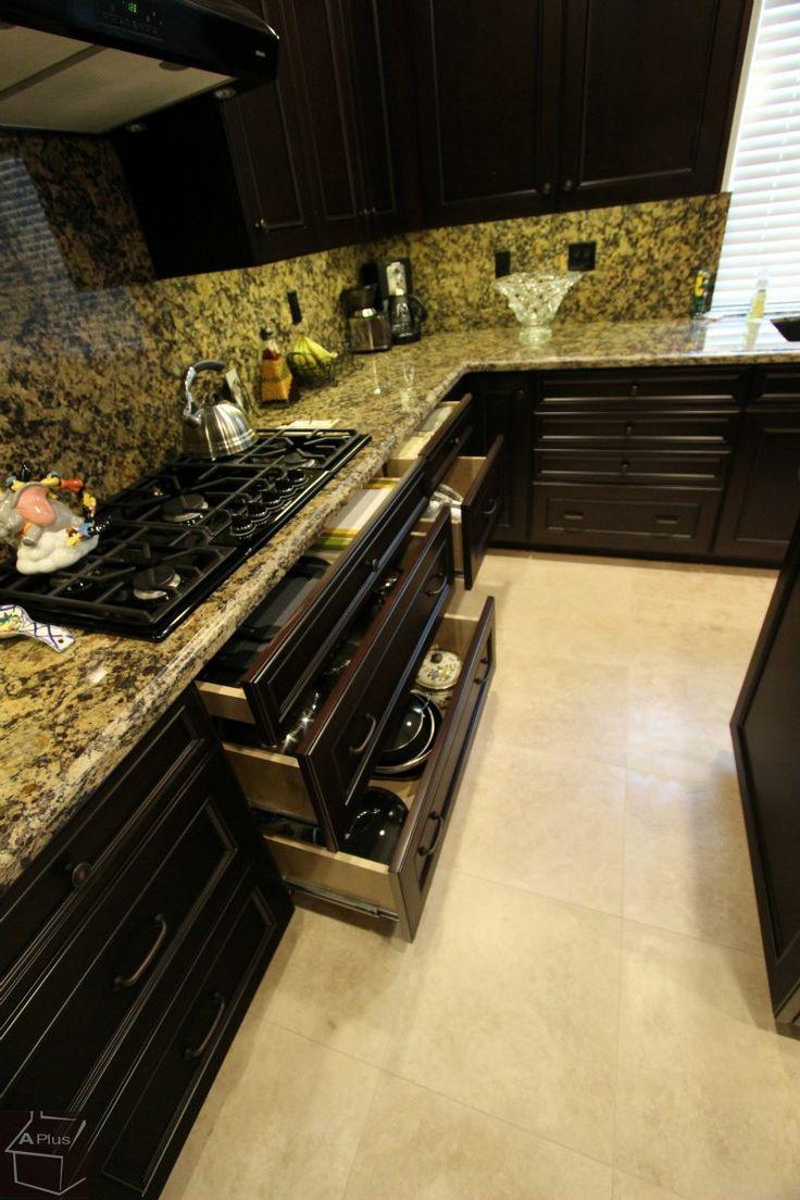 Full Granite Backsplash And Counters With Espresso Dark